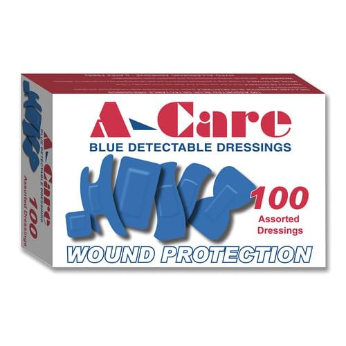 A-Care Economy Blue Detectable Washproof Plasters Assorted Sizes Pk100