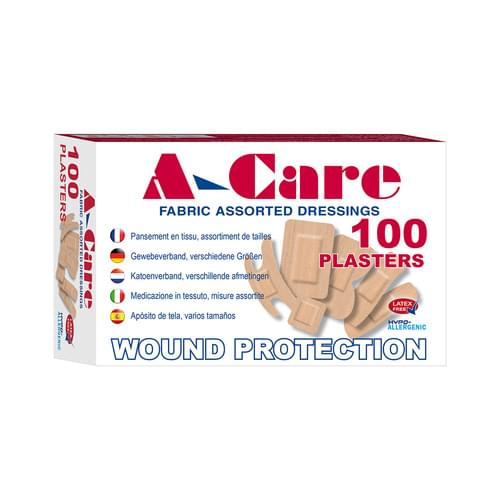 A-Care Economy Fabric Plasters Assorted Sizes Pk100