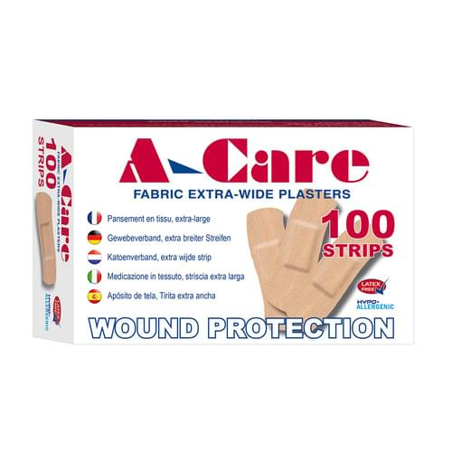A-Care Economy Fabric Plasters Extra Wide Strip Pk100