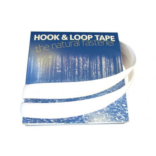 Self-adhesive Hook & Loop Fastener White 20mm x 10m