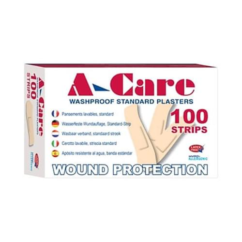 A-Care Economy Washproof Plastic Plasters Standard Strip Pk100