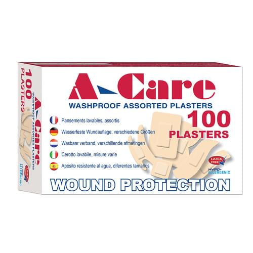 A-Care Economy Washproof Plastic Plasters Assorted Sizes Pk100