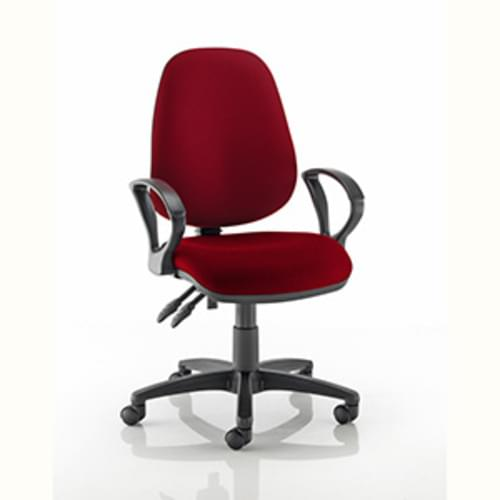 Value High Back Chair with Fixed Arms - Claret