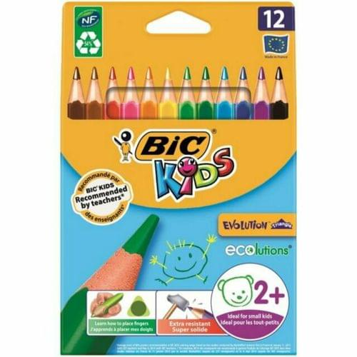 BIC Kids Evolution Triangle Colouring Pencils Wallet of 12