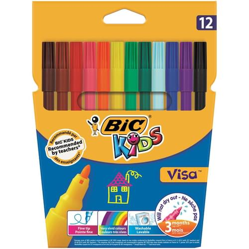 BIC Kids Visa Fine Colouring Pens Wallet of 12
