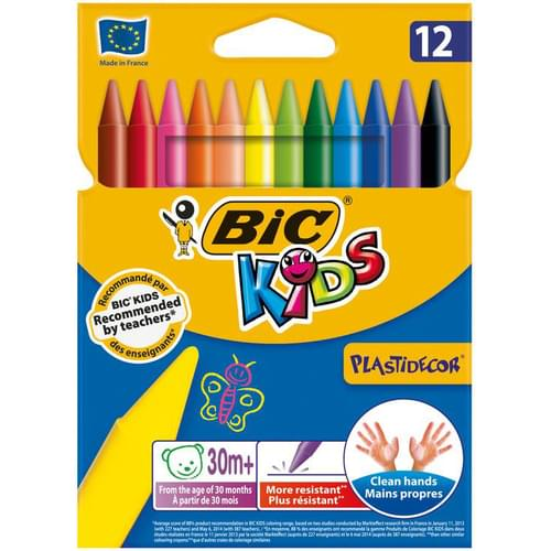 BIC Kids Plastidécor Colouring Crayons Wallet of 12