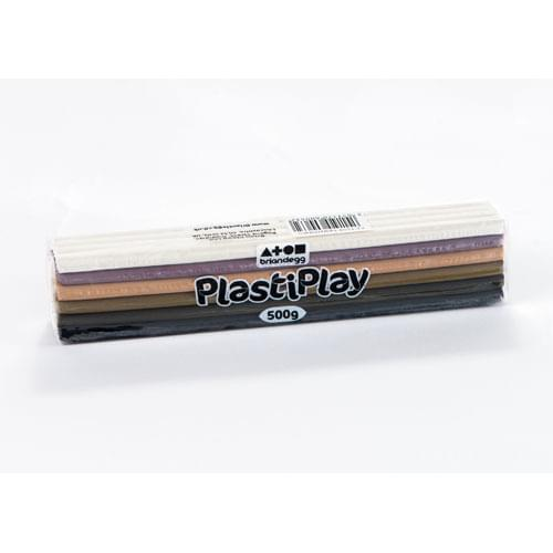 PlastiPlay Modelling Dough 500g Multicolour Block Skintone