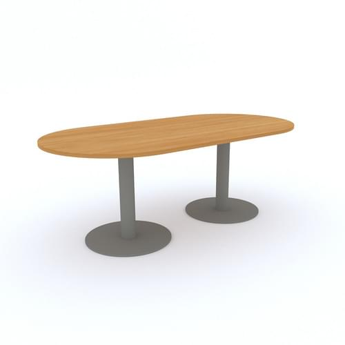 Double D End Meeting Table 2000x1000mm - Silver Round Tulip Base, Grey MFC