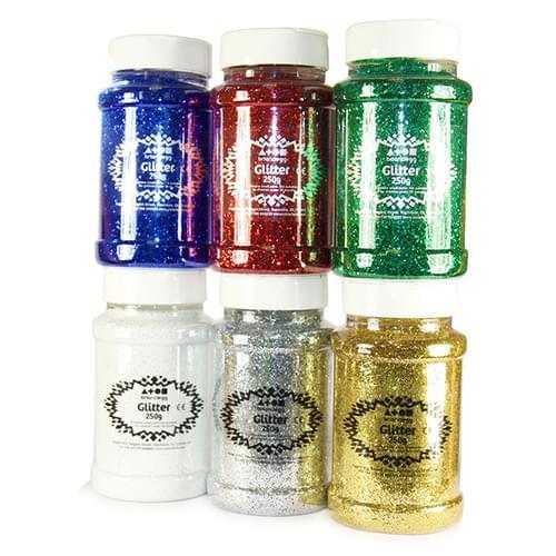 Glitter Shaker 250g Assorted Pk6