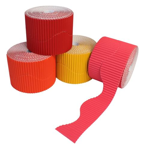 Reds & Oranges Wavy Corrugated Border Roll Assortment