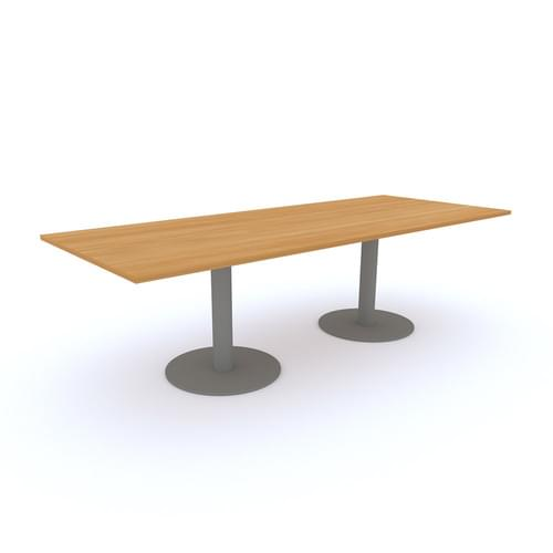 Rectangular Meeting Table 2500x1000mm - Silver Round Tulip Base, Dijon Walnut MFC