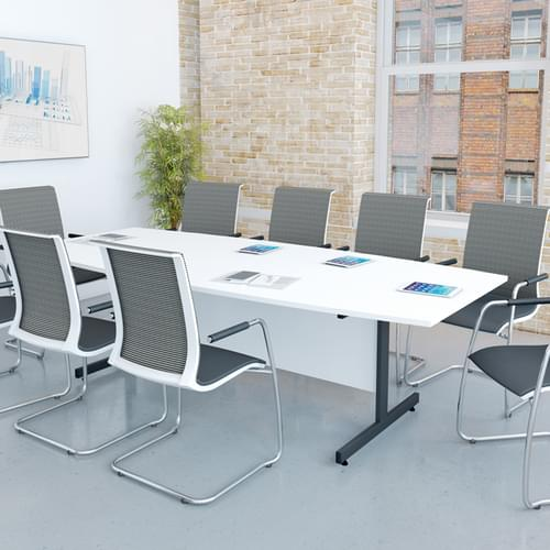 Boat Shaped Meeting Table 2500x1000mm - Silver Sirius Legs, Canadian Maple MFC