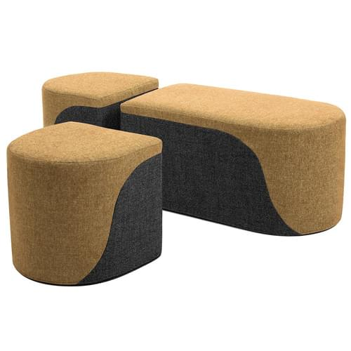 Secondary Bench & 2 Drum Stools Set Mustard/Grey
