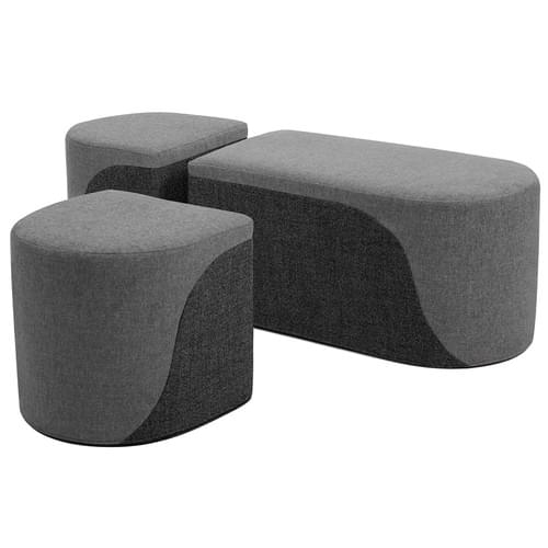 Secondary Bench & 2 Drum Stools Set Light Grey/Grey