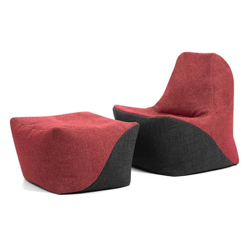 Secondary Upright Chair & Pouffe Bundle Red/Grey