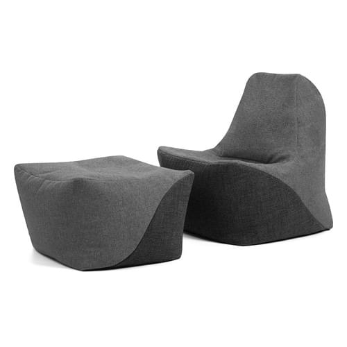 Secondary Upright Chair & Pouffe Bundle Light Grey/Grey