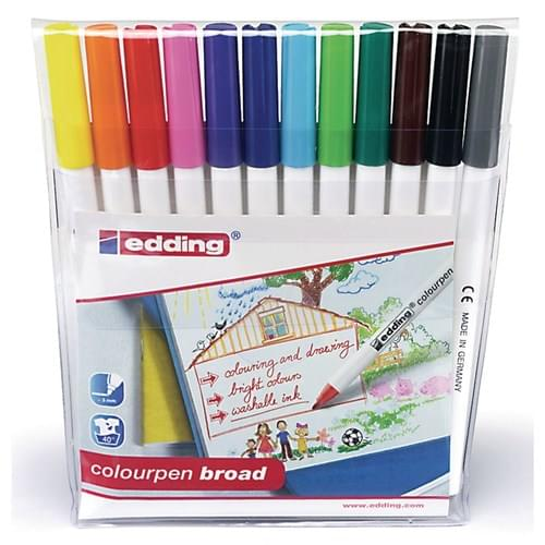 Edding Colourpen Broad Colouring Felt Pens Assorted Wallet of 12