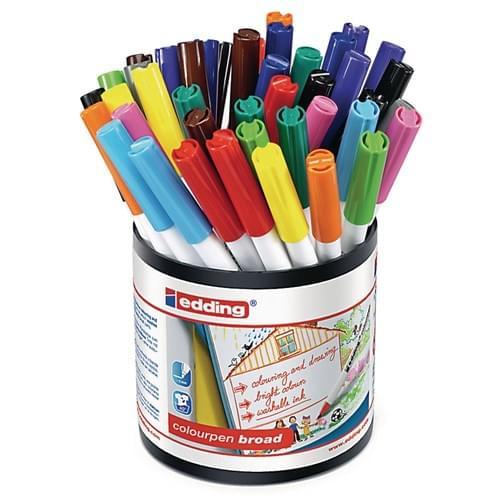 Edding Colourpen Broad Colouring Felt Pens Assorted Tub of 42