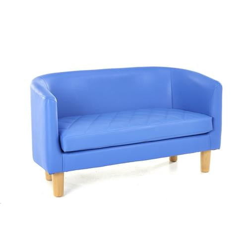 Children's Quilted Tub Sofa Blue
