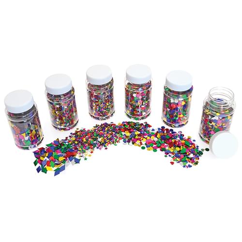 Assorted Collage Shapes Classpack 6x 100ml Shakers