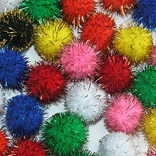 Craft Pom Poms Glitter in Assorted Sizes 100pcs