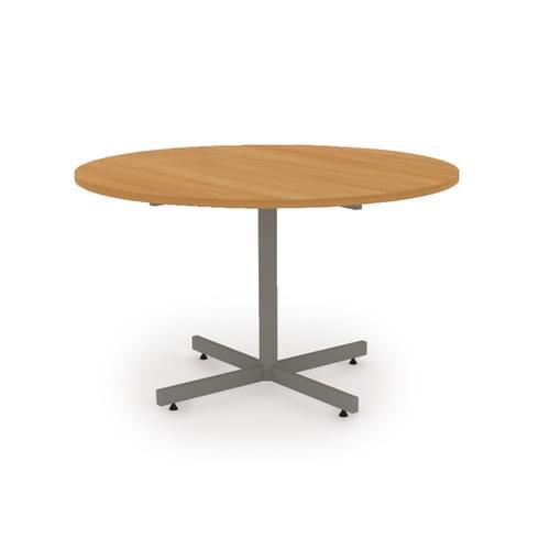 Circular Meeting Table Dia 1200mm - Silver Cruciform Base, Beech MFC