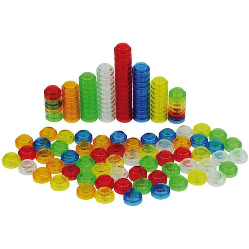 20mm Stacking Counters Pk500 Assorted Translucent Colours