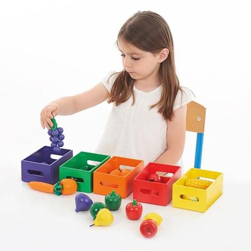 Wooden Fruit and Vegetable Colour Sorting Set