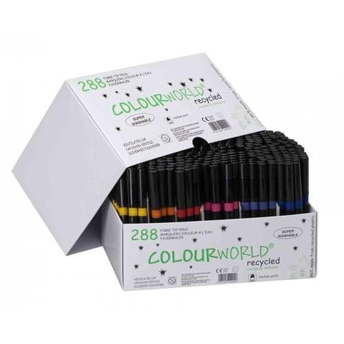 Colourworld Super Saver Recycled Medium Tip Colouring Felt Pens Assorted Classpack of 288
