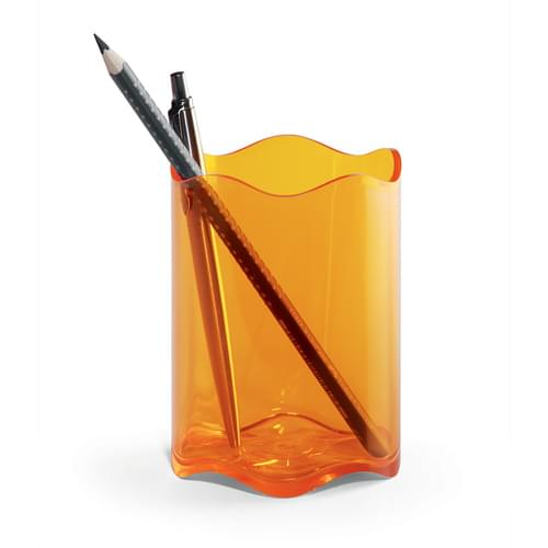 Durable TREND Pen Pot Translucent Orange Pk6
