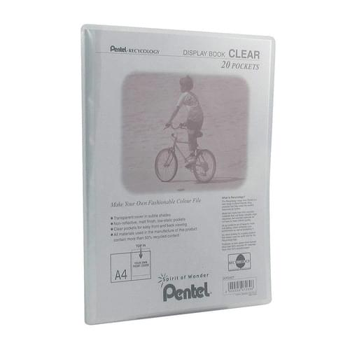 Pentel Recycology Clear Display Book A4 20 Pockets Transparent
