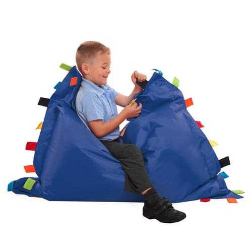 Sensory Touch Tags Bean Bag Floor Cushion - Blue