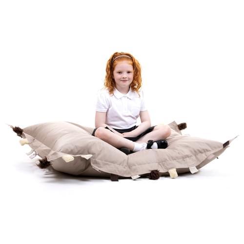 Set of 2 Sensory Touch Tags Bean Bag Floor Cushions - Natural
