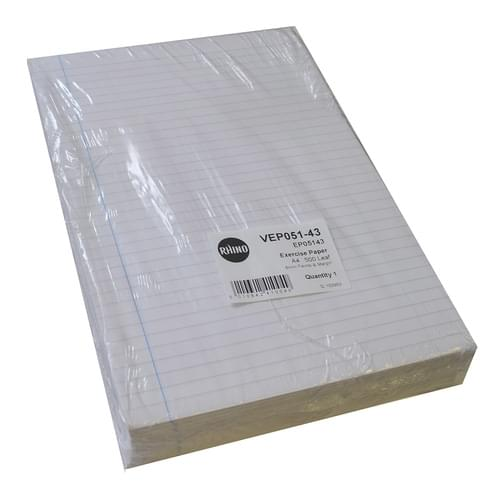 A4 Unpunched Exercise Paper 8mm Ruled & Margin 5 Reams