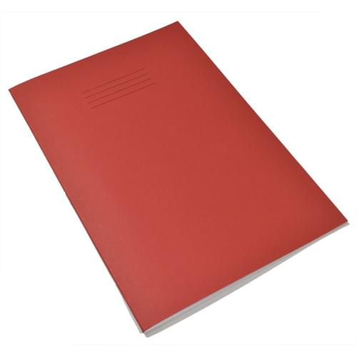 Rhino A4 Handwriting Books 6mm Blue Ruled Centred on 20mm Red Ruled Red Cover 40 Pages