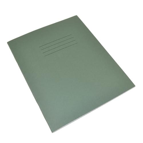 Rhino 8x6.5in Exercise Books 8mm Ruled & Margin Dark Green 80 Pages