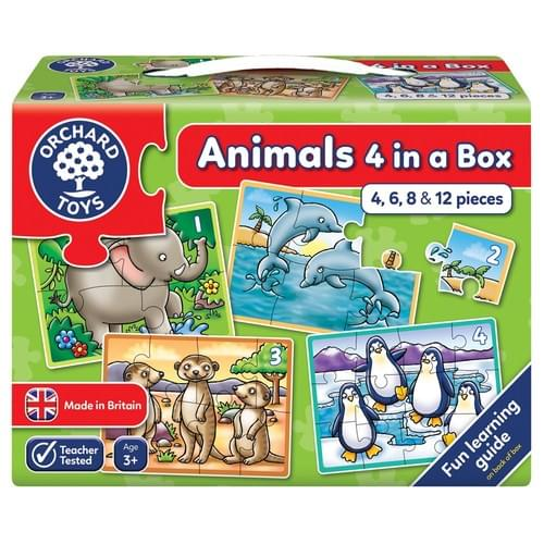 Orchard Toys Animals Four in a Box Jigsaw Set