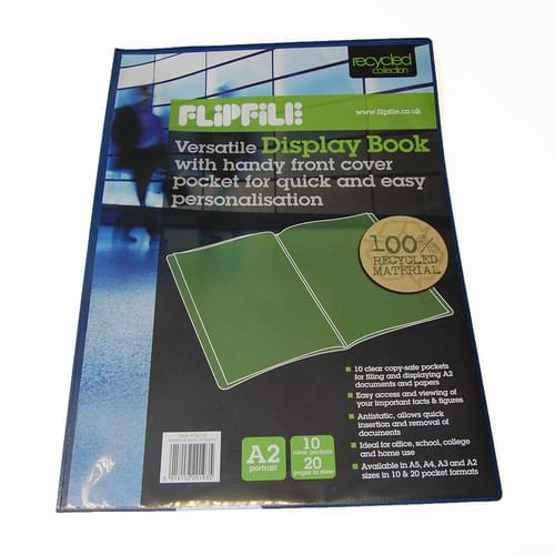 Flipfile Blue Recycled Display Book A2 10 Pockets