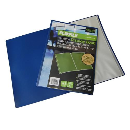 Flipfile Blue Recycled Display Book A3 20 Pockets