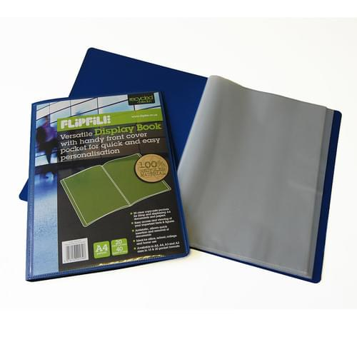 Flipfile Blue Recycled Display Book A4 20 Pockets