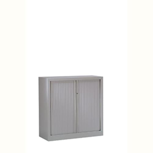 Metal Side Opening Tambour Cupboard 1000mm High Silver