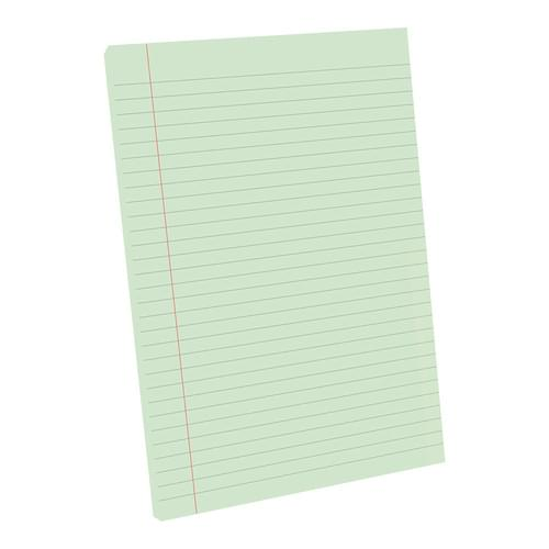 A4 Tinted Exercise Paper Pad 8mm Ruled & Margin Green Paper