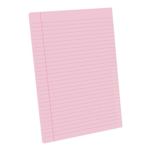 A4 Tinted Exercise Paper Pad 8mm Ruled & Margin Pink Paper