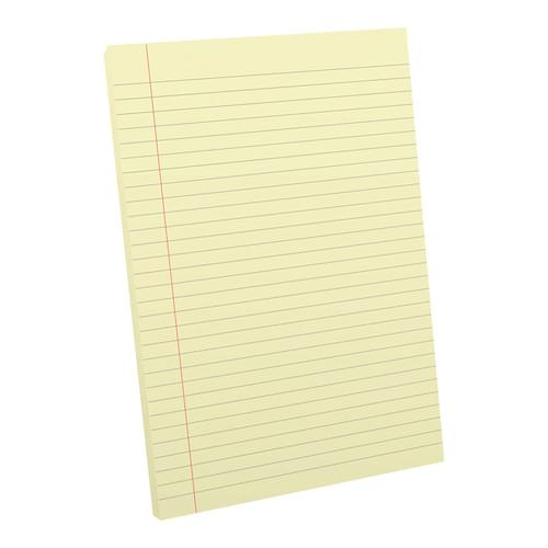 A4 Tinted Exercise Paper Pad 8mm Ruled & Margin Yellow Paper