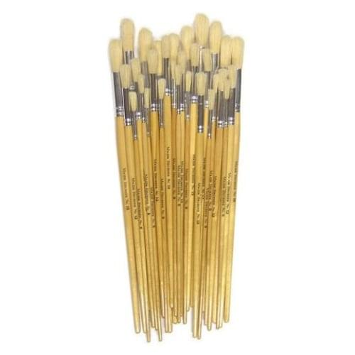 Short Round Hog Bristle Bushes Assorted Sizes Pk30
