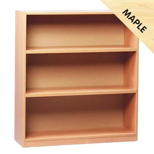 1000mm Tall Bookcase with 2 Shelves Maple