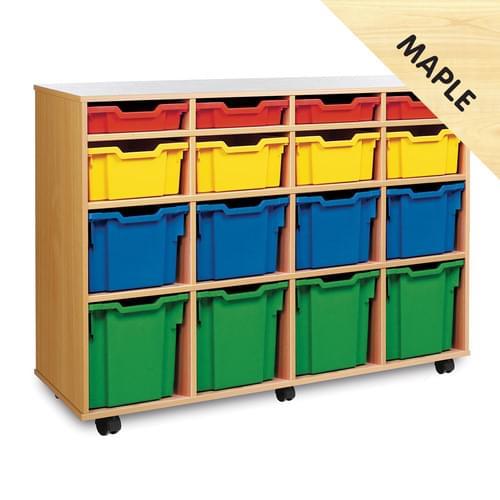 16 Variety Tray Mobile Storage Unit Maple