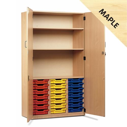 21 Shallow Tray Storage Cupboard Maple