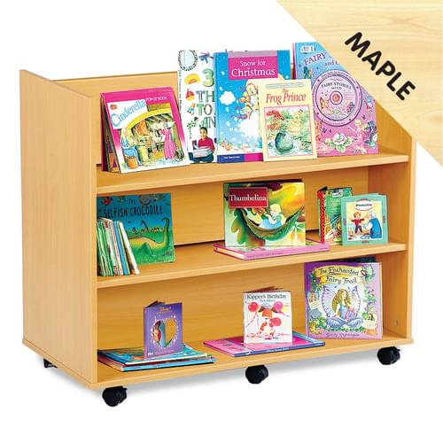 Mobile Library Unit with 3 Horizontal Shelves Each Side Maple