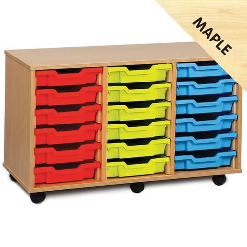 18 Shallow Tray Mobile Storage Unit Maple